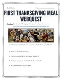 thanksgiving meal webquest with key thanksgiving meals