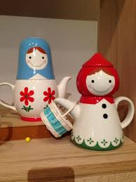 Fun Office Desk Toys by Unique Teapot With Female Characters Design In Blue And Red Color