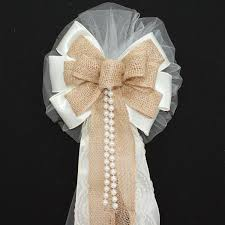 ivory burlap lace pearls rustic wedding bows pew church aisle