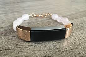 rose gold color bracelet images Rose quartz stones bracelet for fitbit alta hr fitness tracker