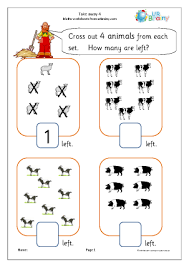 subtraction maths worksheets for later reception age 4 5