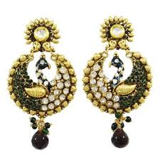peacock design earrings peacock design earring set women traditional goldtone jewelry