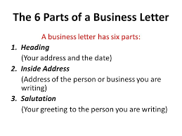 6 parts of business letter the best letter sample