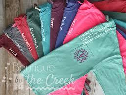 Comfort Colors Brick The Ever Popular Comfort Colors Unisex Monogram Long Sleeve Pocket