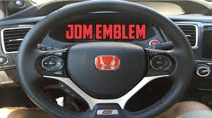 honda jdm logo 2015 civic si jdm steering wheel emblem install youtube