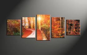 5 piece scenery orange autumn canvas wall art