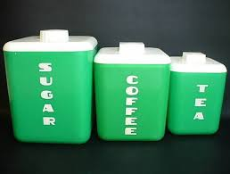 coffee kitchen canisters set of 3 vintage green white plastic kitchen canisters sugar
