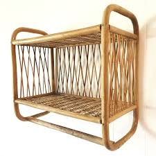 Wicker Shelves Bathroom by Vintage Bamboo Wall Shelf With Towel Bar Two Level Rattan