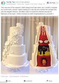 milton keynes bride and groom settle with 2 sided wedding cake