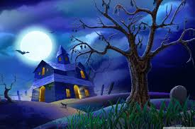 spooky house bats cat night full moon hallowmas halloween hd