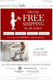 Pottery Barn Free Shipping Codes Pottery Barn Free Shipping Post Card And Presidents Day Banner