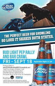 bud light bar light 2015 panthers home opener bud light bar crawl and pep rally 9 18