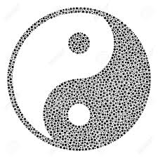 yin yang mosaic of small circles in different sizes and color