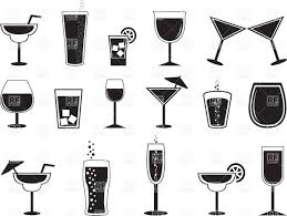 cocktail vector pictograms of cocktails and drinks in different glasses vector