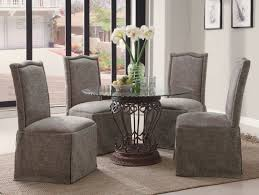 Round Glass Table And Chairs Coaster Slauson 5 Piece Round Glass Top Metal Base Dining Set