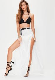 maxi skirt white chiffon split maxi skirt missguided