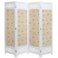 tri fold room divider decor 4 panel white wooden folding divider screens asian oriental