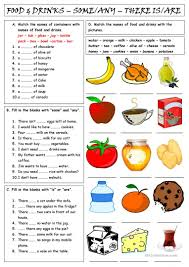 food u0026 drinks some u0026 any there is are worksheet free esl
