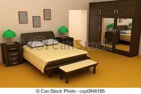 dessin de chambre en 3d intérieur chambre à coucher confortable 3d illustrations de stock