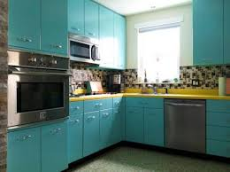 Red And Teal Kitchen by Aqua Blue Retro Kitchen Cabinets And Red Countertops Enduring