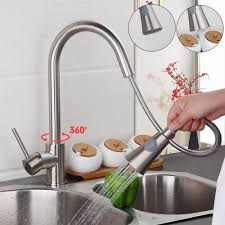 brushed nickel kitchen faucet with stainless steel sink moen one