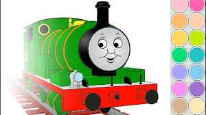 coloring percy train for kids drawing animation thomas and