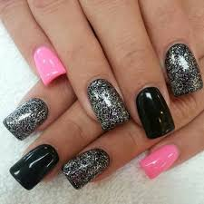 black pink glitter nails nails nail polish i love pinterest