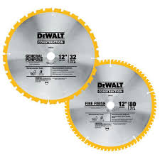 table saw blade width dewalt 12 in miter saw blade 32 teeth and 80 teeth 2 pack