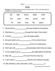 Verb Worksheets Verb Worksheets Page 2 Of 6 Teaching
