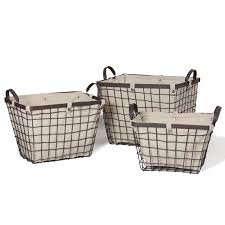 joveco rectangular urban style baskets with wide rim and snap