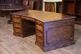 Executive Desk Leather Top Mahogany Executive Desk Fine Antique Reproducti