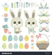 rabbit easter basket easter eggs easter rabbit easter basket stock vector 373308583