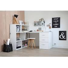 bureaux avec rangement bureau dangle bicolore 1 tiroir 1 porte 2 casiers de rangement