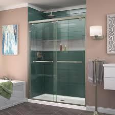 Shower Frameless Glass Door Shop Dreamline Encore 50 In To 54 In W Frameless Brushed Nickel