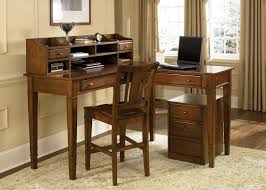 corner natural pine wood computer desk with small cabinet classic
