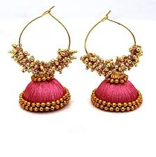 thread earrings buy pink designed shine silk thread earring f2 online at low