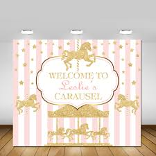 carousel baby shower printable carousel party backdrop carousel party pink and