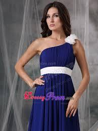 flowers and belt accent one shoulder blue prom formal dress