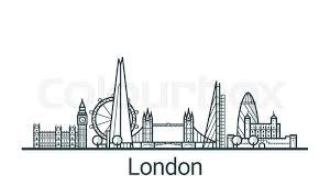 linear banner of london city all buildings customizable