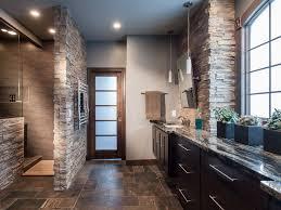 bathroom long vanity rustic bathroom slate tile brown floor tile