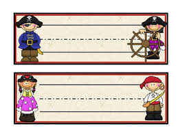 pirate themed nametags editable month numbers pirate theme