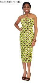 elegant green brown and beige african print halter dress dp2658