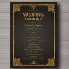 deco wedding program wedding program great gatsby 1920s arte deco themed custom and