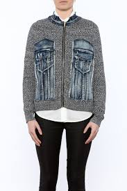 jean sweater jacket voice of california jean sweater zip jacket from chicago by