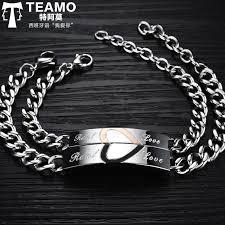 rose gold love heart bracelet images Teamo his and hers bracelets black rose gold heart puzzle jpg