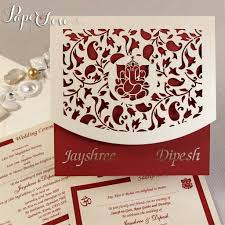 Invitation Card Cover Asian Wedding Invitation Laser Cut Ganesha On Cover Names Bride