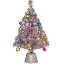 christmas tree tinsel national tree pre lit 32 fiber optic fireworks silver tinsel