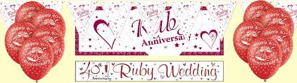 40th wedding anniversary party ideas ruby 40th anniversary party supplies decorations party wizard