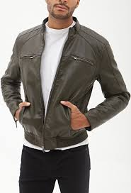 mens leather biker jacket forever 21 faux leather biker jacket in green for men lyst