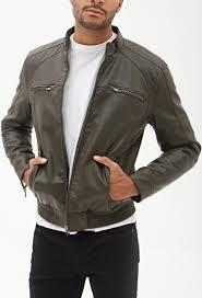 biker jacket vest forever 21 faux leather biker jacket in green for men lyst